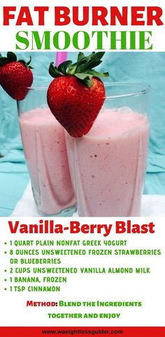 20 Smoothies Recipes For Weight Loss Fat Burning. Want to lose weight with smoothies? Here are the 20 Smoothies recipes for weight loss fat burning, these smoothies recipes are simple to make and easy. Fruit Smoothies, Lunch Smoothie, Easy Smoothies, Smoothie Diet, Vanilla Smoothie, Smoothies For Dinner, Strawberry Blueberry Smoothie, Homemade Smoothies, Energy Smoothies