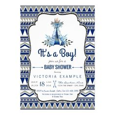 Tribal Teepee Blue Gray Boys Boho Baby Shower Card