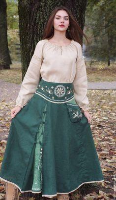 """Купить Юбка из льна """"Малахитовый дар"""" - лен, льняная юбка, юбка с вышивкой, юбка в пол"""