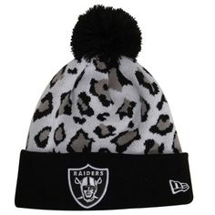 55f557986 New Era Oakland Raiders Team Leopard Cuffed Knit Hat with Pom - Black