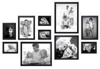 Fotowand zwart, 10 fotokaders S41VH2 met handige meetlat voor plaatsing 2x 10x15cm, 2x 13x18cm, 1x15x20cm, 2x 20x30cm, 1x 30x30cm, 2x 30x40cm