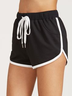 Shop Black Drawstring Waist Contrast Binding Dolphin Shorts online. SheIn offers Black Drawstring Waist Contrast Binding Dolphin Shorts & more to fit your fashionable needs.