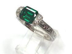Designer Tacori 925 Sterling Silver Emerald Cut Green Stone Filigree Ring Size 4 #Tacori #SolitairewithAccents