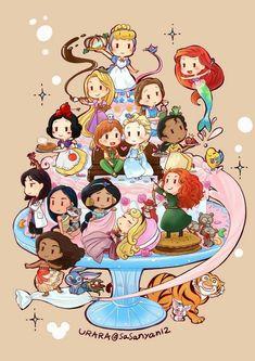 Cute Disney Drawings, Disney Princess Drawings, Disney Princess Art, Disney Princess Pictures, Princess Cartoon, Cute Disney Characters, All Disney Princesses, Cartoon Characters, Chibi Disney
