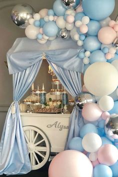 Ready for the sweets! Loving our backdrop and how whimsical it is🧜♀️ Dessert Table and design by Gender Reveal Decorations, Baby Shower Decorations, Tea Party Baby Shower, Baby Boy Shower, Blue Paint Colors, Personalised Christmas Cards, Blue Balloons, Balloon Garland, Party Themes