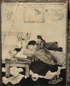 Photographie «Dessin d'un autoportrait de Foujita» dédicacé et daté 1928