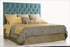We will have to have a big ol' cushioned headboard--at John's request. Velvet Tufted Headboard, Mirror Headboard, Cushion Headboard, Leather Headboard, Headboard Ideas, Bel Air, Home Bedroom, Master Bedroom, Vintage Furniture