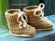 CHRISTMAS in JULY SALE Baby Booties  Combat Hiking or Work Boots Crochet Baby Shoes Military, $16.00