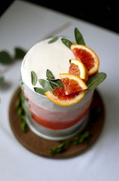 Blood Orange Cake with Honey Mascarpone Frosting