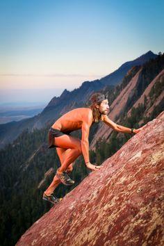 Anton Krupicka running up Flatirons in Boulder, CO