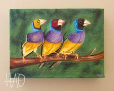 SALE Finch Painting Original Oil Painting by HeatherAnnOrlando