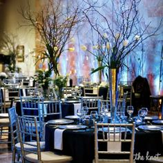 Tall Centerpieces - tulips and branches (could be painted white, gold or silver)