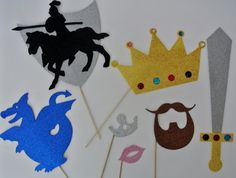Knight and shinning Armour photo booth props  Sword dragon and shield Princess Party photo booth