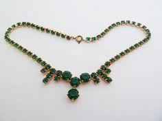Vintage Emerald Green Rhinestone Choker Length by jewelbirdvintage