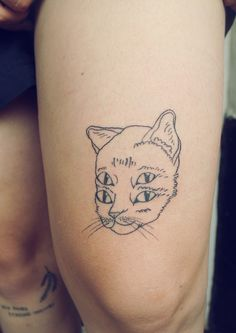My girl Cat has this tattoo but hers is a lot more detailed . Still an awesome idea though