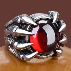Red Amber Titanium Eagle Claw Gothic Punk Fashion Jewelry Rings SKU-71109010 Cool Rings For Men, Rings Cool, Gothic Punk Fashion, Gents Ring, Gothic Engagement Ring, Biker Rings, Gothic Jewelry, Gothic Rings, Eagle Claw