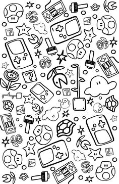 #nintendo print Coffee Wallpaper Iphone, Mini Drawings, Step By Step Drawing, Planner Ideas, Mario Bros, Printable Planner, Doodle Art, Stencils, Diy And Crafts