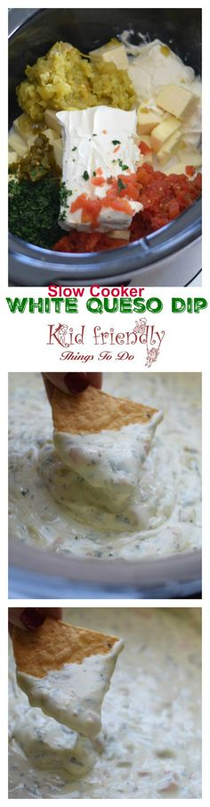Easy Crockpot Queso Blanco Dip - White Cheese Recipe - Easy Slow Cooker White Queso Blanco Dip – www.kidfriendlyth… Source by kidfriendlyttd Appetizer Dips, Appetizers For Party, Appetizer Recipes, Snack Recipes, Party Dips, Fondue Party, Savoury Recipes, Dip Recipes, Party Snacks