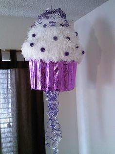 purple cup cake pinata