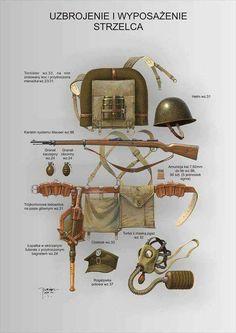 Polish WW II infantry equipment and weaponry Military Gear, Military Equipment, Military Weapons, Military History, Poland Ww2, Ww2 Weapons, Ww2 Uniforms, Ww2 Tanks, Military Diorama