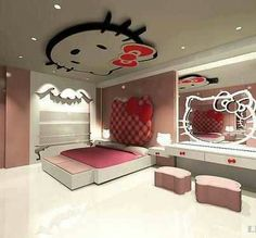 Are you a Hello Kitty fan? If so, you'll love these adorable Hello Kitty bedroom decoration! 25 cute bedroom designs for Hello Kitty fanatics. Hello Kitty Haus, Hello Kitty Zimmer, Hello Kitty Room Decor, Hello Kitty Bedroom, Cat Bedroom, Elegant Girls Bedroom, Cute Bedroom Ideas, Bedroom Themes, Bedroom Decor