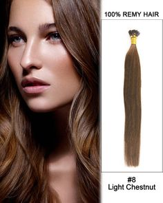 "16"" #8 Light Chestnut Straight Stick Tip I Tip 100% Remy Hair Keratin Hair Extensions-100 strands, 0.5g/strand"