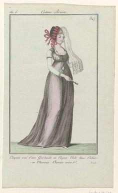 Journal des Dames et des Modes, Costume Parisien, 7 août 1798, An 6, (54) : Chapeau orné d'une Guirlande..., Anonymous, Sellèque, Pierre de la Mésangère, 1798