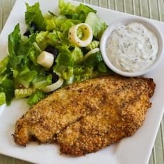 Almond and Parmesan Baked Tilapia -- This plate. I want it. I mean, with the food. I'll take the plate too.