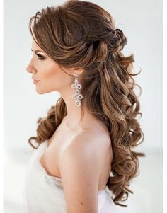 Half up half down wedding hairstyles, curly hair, curled, waves, hair down wedding hairstyles