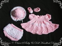 "Lacy Edged Summer Dress Set 16-22"" doll/0-3m baby-"