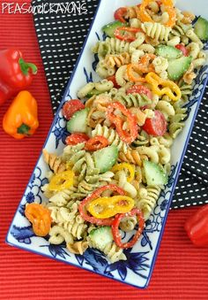 Confetti Pasta Salad | Peas and Crayons: Confetti Pasta Salad with simple and easy Italian dressing recipe
