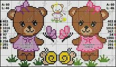 Cross Stitch Bookmarks, Cross Stitch Rose, Cross Stitch Baby, Cross Stitch Kits, Cross Stitch Charts, Baby Patterns, Cross Stitch Patterns, Valentine Gift Baskets, Baby Teddy Bear