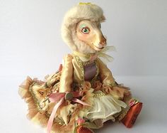 Vintage Sheep Doll in a Fancy Dress and Wig