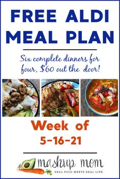 Free ALDI Meal Plan week of 5/16/21: Six complete dinners for four, $60 out the door! This week we are cooking up everything from vegetarian burritos to salsa verde chicken soup -- & so much more. Save time & money with meal planning, when you cook along with us.