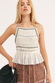 Camille Embellished Cami by Intimately at Free People, White, XS Free Clothes, Clothes For Women, Urban Outfitters, Boho Fashion Summer, Look Boho, Casual Winter Outfits, Fashion Over 50, Fashion 2020, Fashion Outfits
