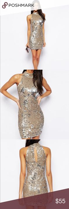 TFNC Sequin Dress With High Neck Beautiful gold sequin dress by TFNC. Ordered through Asos. Worn once last New Year's Eve. Dress is no longer available online. Smoke & pet free home. ASOS Dresses