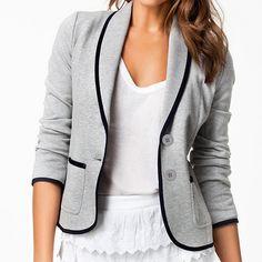 Slim Design Short Gray Blazer
