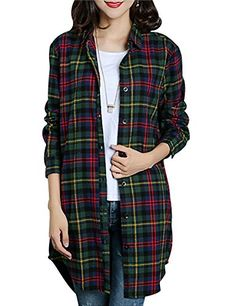 c6032af5158a5 Gihuo Women s Casual Mid-Long Style Classic Long Sleeve P... https
