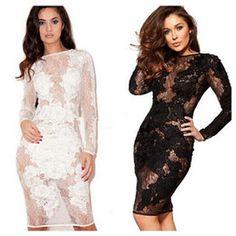 2015 új divat párt Szexi ruhák, Női Hosszú ujjú fekete csipke Patchwork Alkalmi ruha, szexi Bodycon kötszer ruha