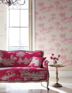 Toile de Jouy was a very classic pattern used in Britain and France in the for fabrics for upholstery and curtains mainly, in the years it also became Chinoiserie, Creation Deco, Pink Room, Decoration, Pretty In Pink, Perfect Pink, Interior And Exterior, Modern Interior, Beautiful Homes