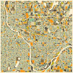 Poster | TWIN CITIES MAP von Jazzberry Blue | more posters at http://moreposter.de