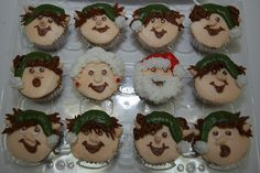 Santa & Mrs. Claus and elves cupcakes