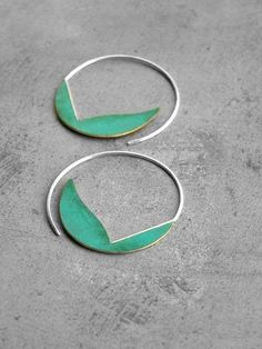 We love these simple sterling silver hoops with their shapely verdigris leaves. #etsy #SterlingSilver #SterlingSilverHoops