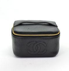 Chanel Black Caviar Vanity Cosmetic Bag