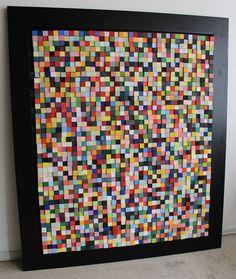 """""""colores 2.000"""" construccion de cubos de madera de 2.5cm sobre marco de madera 145cm por 125 cm."""""""