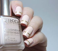Less is more - Kiko 417 Blush - Striping tape - gold - nails - nailart - marinelovespolish
