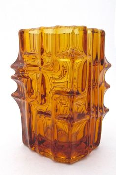Sklo Union amber vase by Vladislav Urban #Czechoslovakia #glass #vase