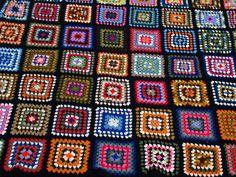 Vintage GRANNY SQUARE Crochet Afghan Blanket by VINTARTIQUE, $90.00