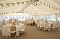 Marquee decorated with Plain Hessian Bunting. Photo supplied by Chris Snowden from Time Photographic Hessian Bunting, Photo Supplies, Wedding Bunting, Wedding Table Decorations, Valance Curtains, Wedding Ideas, Colours, Home Decor, Decoration Home