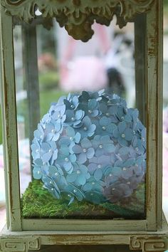 I could make those flower balls.  Worst part is cutting out the flowers (punch?).  Use pins from bridal isle to pin to painted or fabric covered Styrofoam balls.
